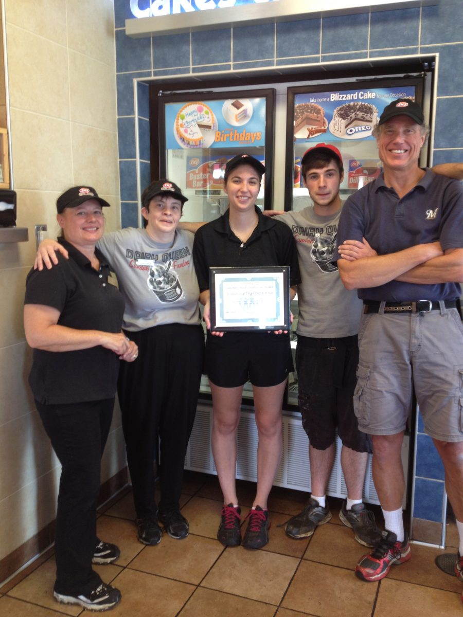Staff from Dairy Queen Tomahawk accept Initiative Award.