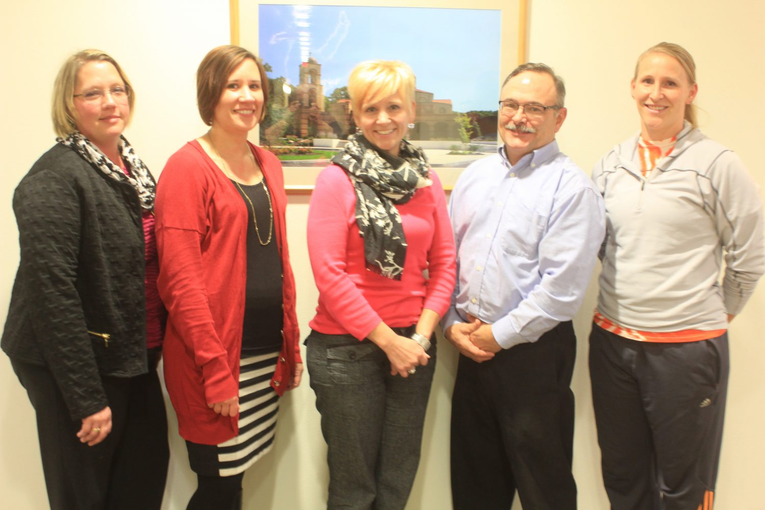Pictured from left are Trina Pawlicki (Intellectual Disabilities-PRMS); Jaime Rannow (Intellectual Disabilities-PRMS); Dawn Schroeder-Silvela (Merrill Area Community Foundation); Pete McConnell (Technology and Engineering-PRMS); Stephanie Nelson (Phy Ed-MHS).