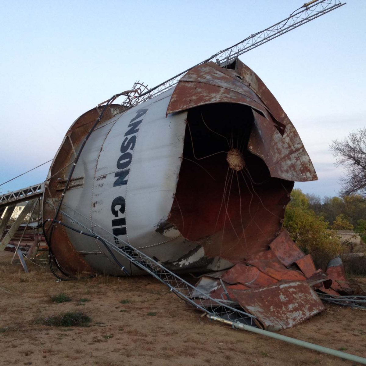 The Anson & Gilkey water tower came down in October as the city is clearing the site for redevelopment.