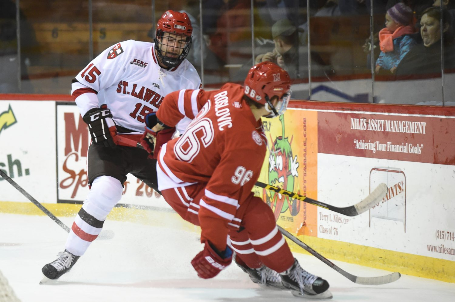 Matt Purmal shuts down a charge from an opposing forward in a recent St. Lawrence U. game. Tara Freeman photo