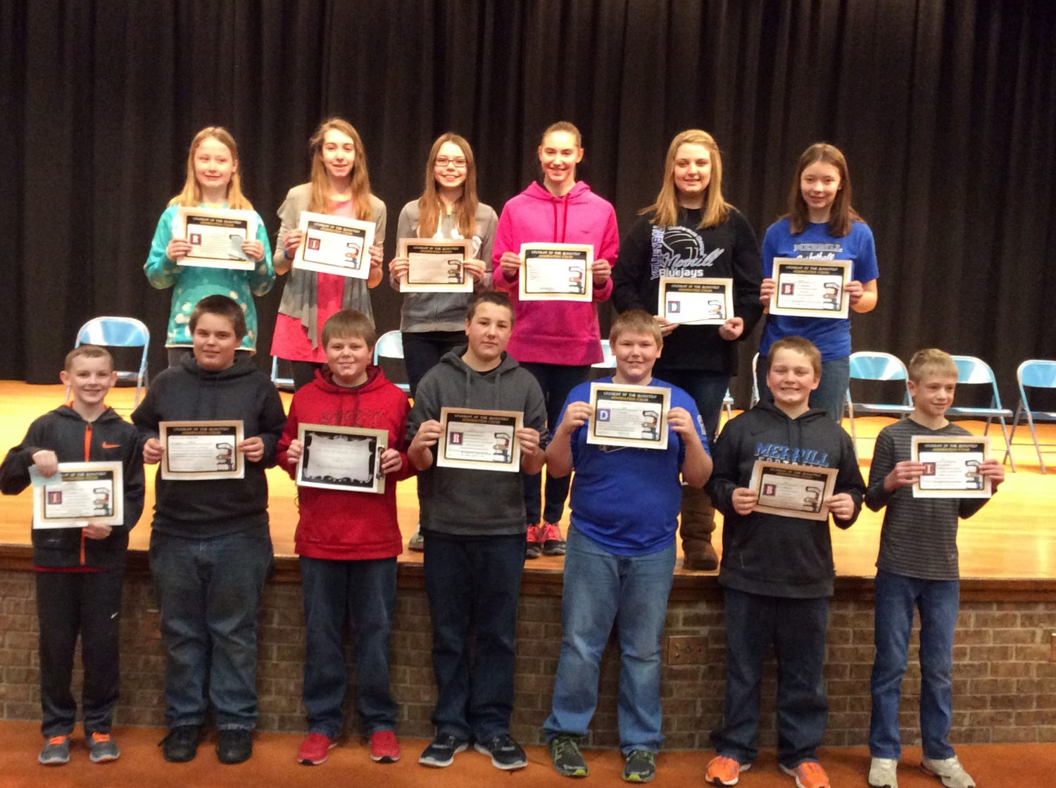 Grade 7 Students of the Quarter are, front from left, Parker Short, Anthony Slater, Bryce Thomaschefsky, Casey Cardinal, Zach Kriegel, Devin Miller, and Thad Countryman; second row, Alexis Crossman, Jordyn Henrich, Michaela Kienbaum, Kim Kracht, Taylor Dinges and Kendall Krueger.