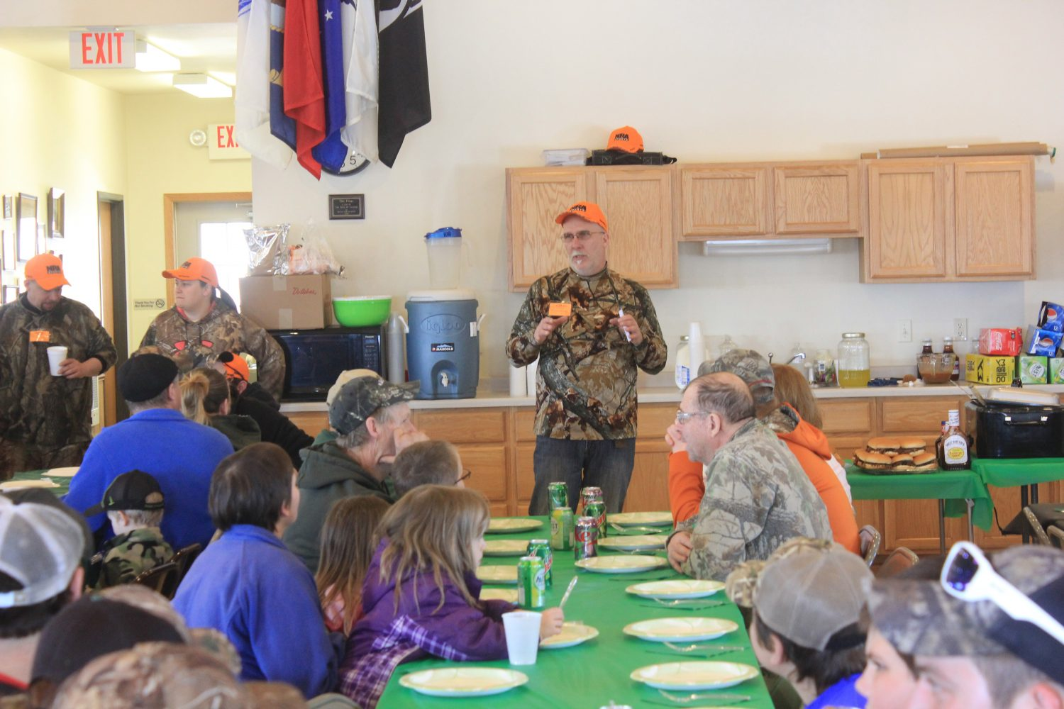 Lincoln County Learn to Hunt Turkey co-chair Todd Wensel addresses the group of hunters, mentors, landowners, sponsors and volunteers during Saturday's luncheon at the Corning Town Hall. -Collin Lueck photo