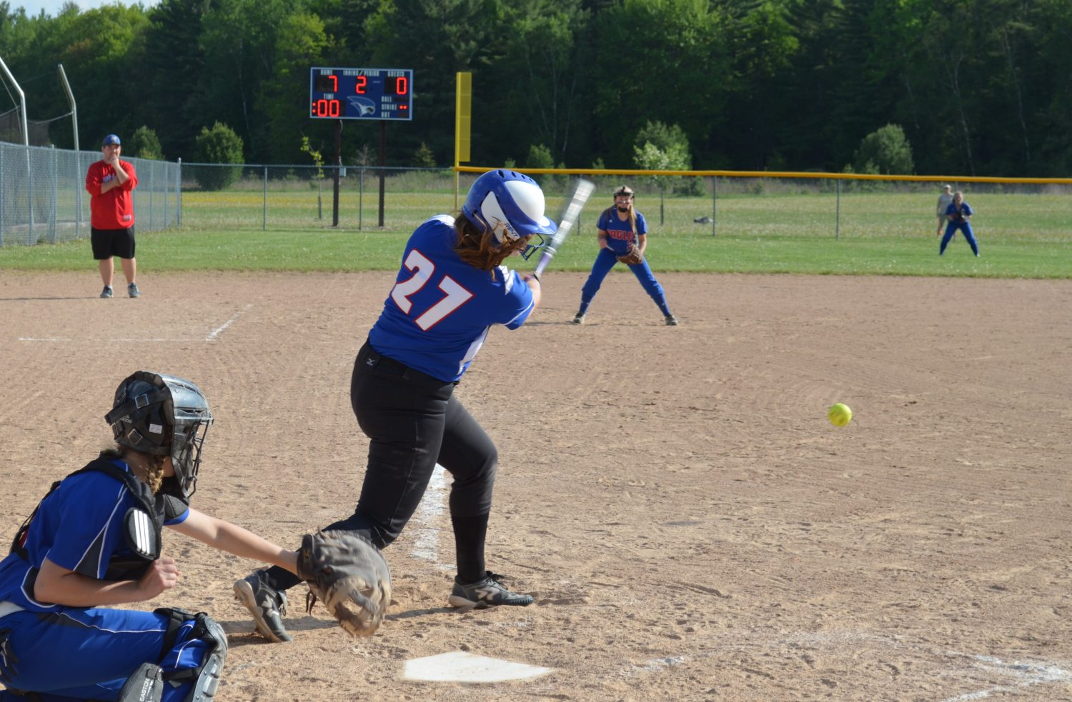 Chelsey LaMonica hits a hard grounder to third.