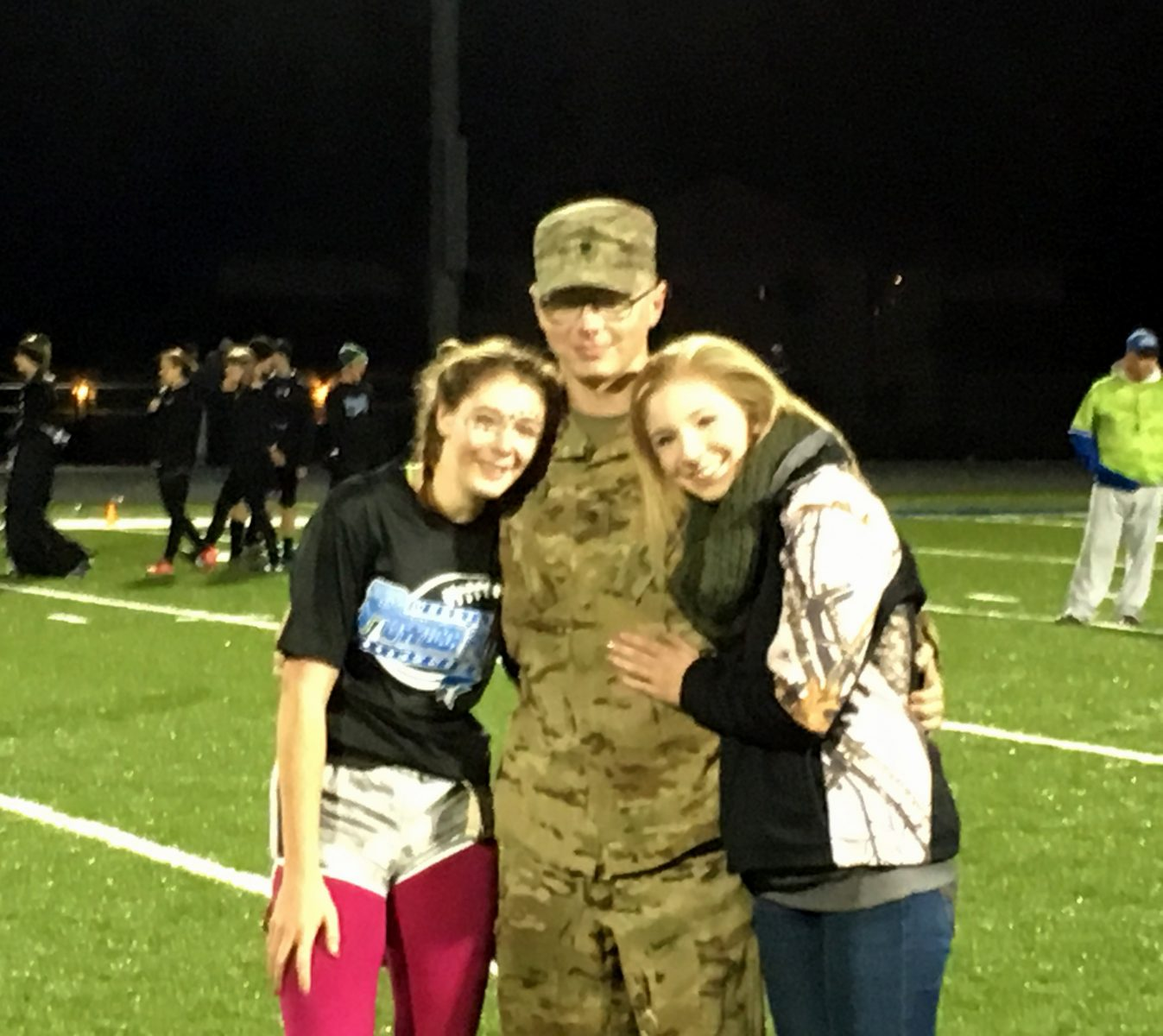 In what was probably one of the sweetest events to occur in PowderPuff history, Specialist Justin Berry, who just served a 10-month tour in Afghanistan, surprised Junior Ashlin Berry (his little sister) with an appearance at halftime. Pictured L to R: Ashlin, Justin, and Kaitlin. The Merrill Foto News gives a sincere thank you to Justin Berry for his service to our country.