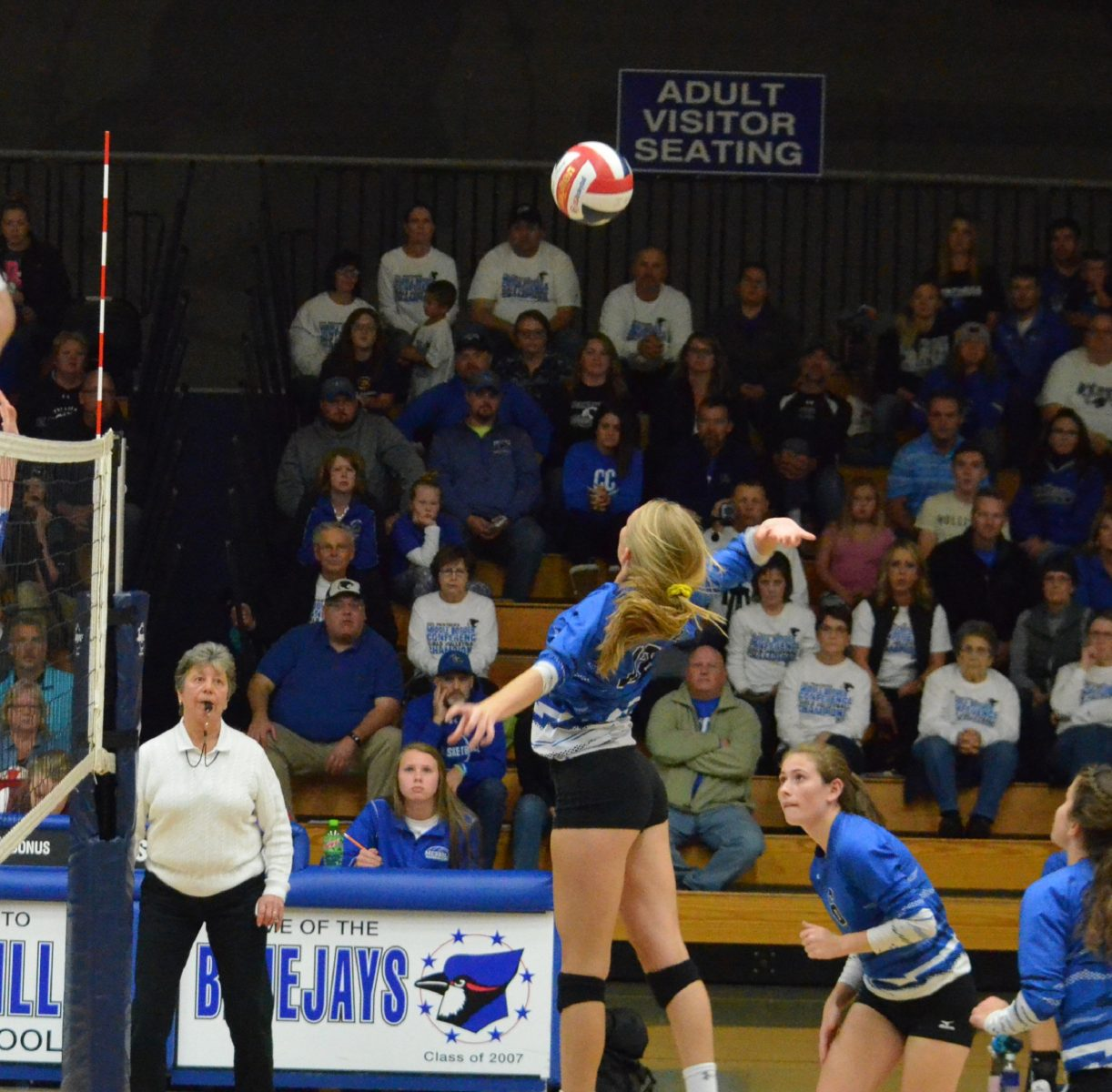 Kaylee Bowe had a solid game for Merrill totaling seven kills and getting two blocks along the way. Pictured is Bowe as she goes up to slam down one of her seven kills.