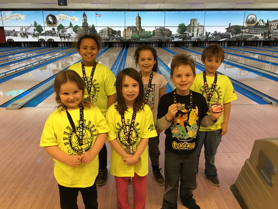 The Monday Bumpers tournament winners were, front from left, Emma Daley, 1st place girls, 168; Mariah Dupke, 2nd place girls, 153; Jameson Gerdes, 1st place boys, 181 (missing from photo is Asa Laabs, 2nd place boys bumpers); back row, Monday Bantams winners were, from left, Cora Powe, 1st place girls, 180; Karlee Ravn, 2nd place girls, 163; Lawson Kersten, 2nd place boys, 152 (missing from photo is Landon Mootz, 1st place boys, 164.