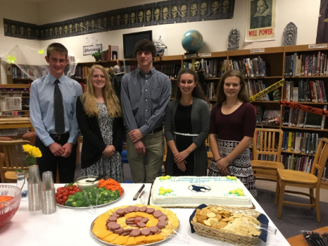 MHS National Honor Society Officers, from left, Logan Humphrey, Hailey Schult, Aidan Tautges, Rachel Rell and Autumn Schenzel; missing is Jacob Novitch.